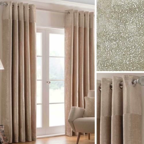 Cream Eyelet Curtains Gold Metallic Bling Chenille Lined Ring Top Curtain Pairs