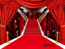 10X10FT Red Stage Stair Vinyl Photography Backdrop Background Studio Prop VD442