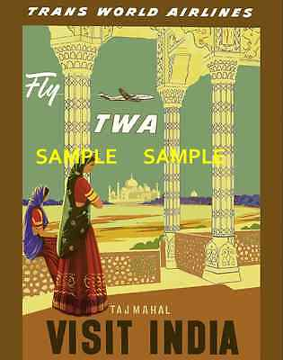 """Los Angeles Airline 8.5/"""" X 11/""""  Travel Poster TWA"""