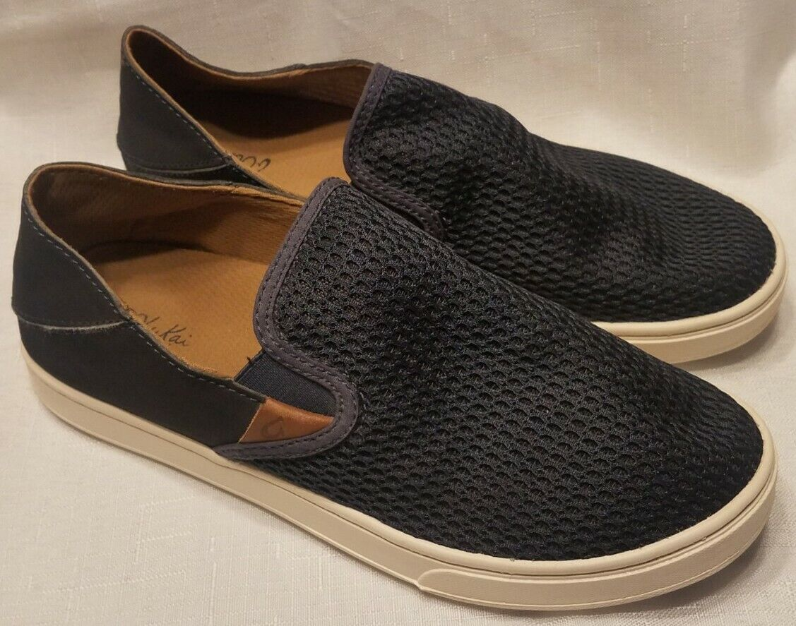 OluKai Pehuea 20271-Dede Women's Shoes sz 8 US Navy Blue Slip On Shoes Nice