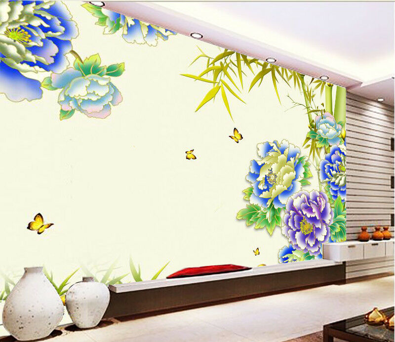 3D Bule Peony 511 Wallpaper Murals Wall Print Wallpaper Mural AJ WALL UK Summer