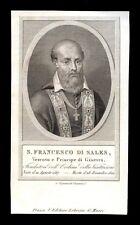 santino incisione 1800 S.FRANCESCO DI SALES V. DI GINEVRA
