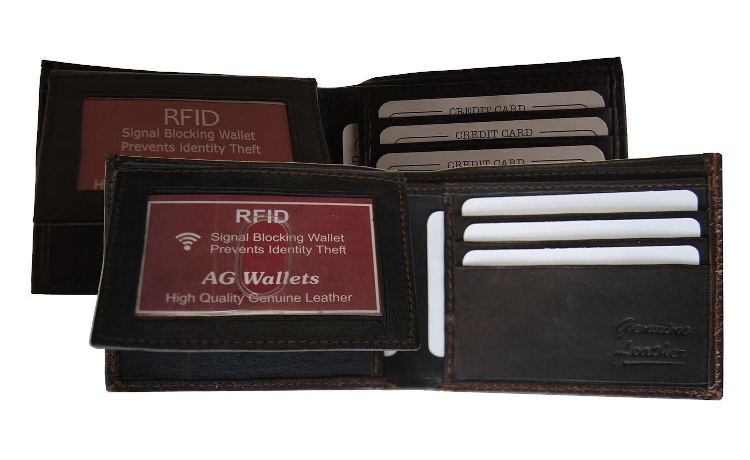 RFID Bifold Wallet - Genuine Leather, Flip Up ID, Multi Card Holder, Scan Proof