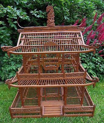 Alter Older Chinesischer Xxl Holzvogelkäfig Birdcage Handwork Handarbeit Rar