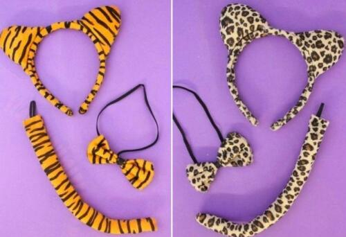 TIGER AND LEOPARD PRINT DRESS UP SET WITH EARS HAIR ALICE HEADBAND BOW AND TAIL