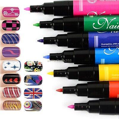 UV Gel Polish Tips Nail Art Pen Painting Drawing Design Manicure Tool 16 Colors