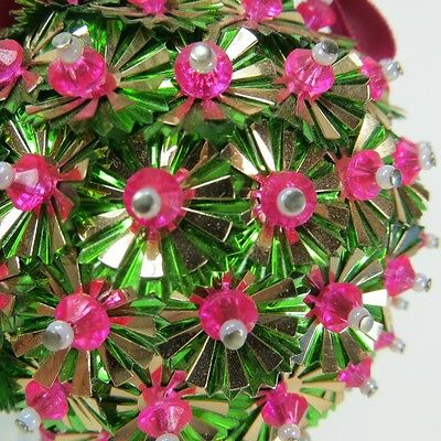 Vintage Beaded Sequin Pink Green Gold Handmade Christmas Ornament Styrofoam Ball