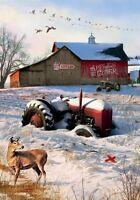 Winter Tractor Barn Deer Cardinal Snow Geese Sm Garden Flag Custom Decor