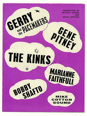 THE KINKS GENE PITNEY MARIANNE FAITHFULL GERRY+PACEMAKERS Concert programme 1964
