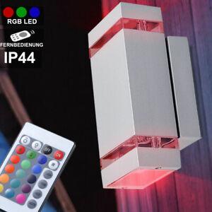 LED Außen Wand Leuchte Edelstahl RGB Fernbedienung Lampe Beleuchtung dimmbar