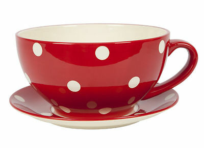 Ethos Living Large Round Cup and Saucer Planter red