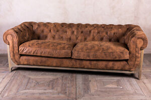 Image Is Loading Chesterfield Style Three Seater Oned Sofa In Distressed