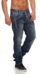 Cipo-Baxx-Pantalones-Vaqueros-De-Hombre-c44017-AZUL-USADO-L32-Denim-Ajuste-Recto