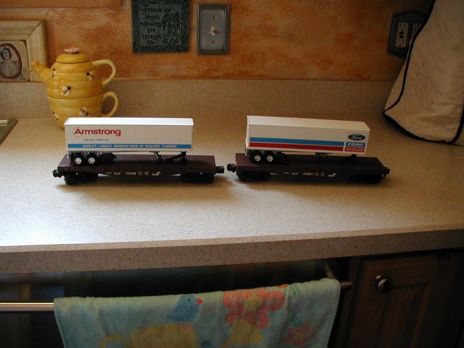 Nuovo SET 2 LIONEL 17887 17887 17887 e 17888 LCCA FORD e ARMSTRONG TRAILER FLAT auto cd8e19