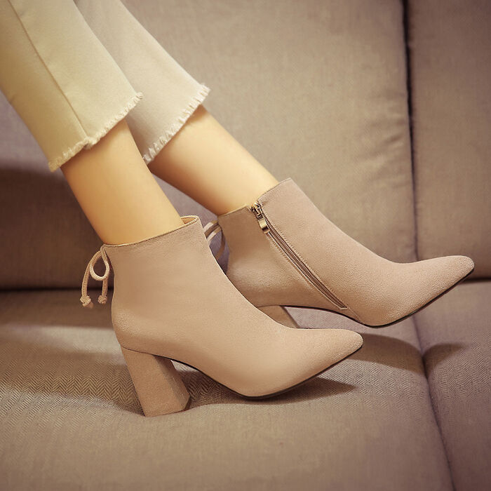New Real Suede Women's Block Heels Ankle Boots Side Zipper High Top Shoes