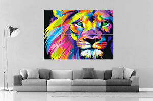 Lion-abstract-Abstrait-Color-Home-DECO-Wall-Art-Poster-Grand-format-A0