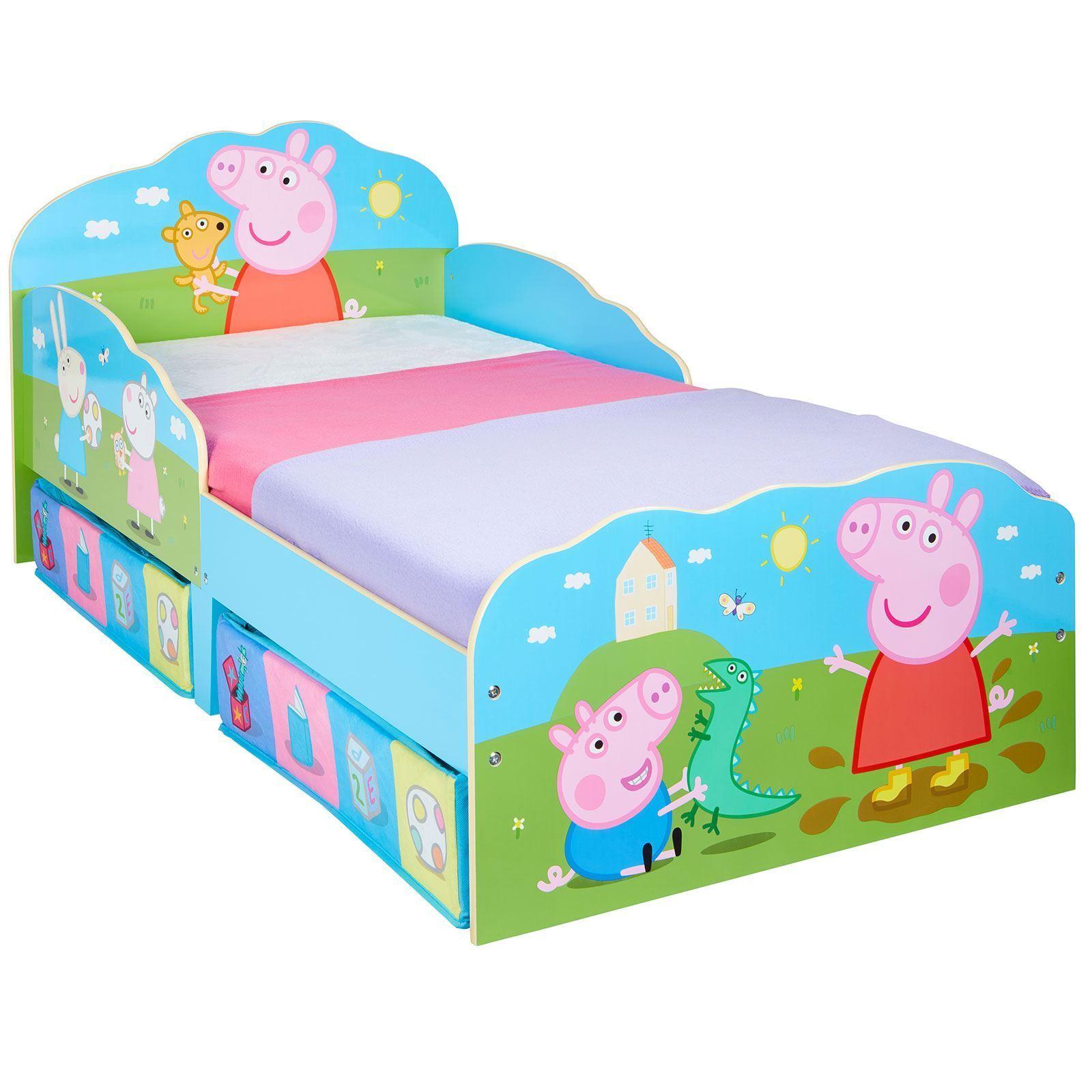 Peppa Pig Bébé Lit Junior avec Rangement Enfants + Matelas Complètement à