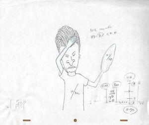 Beavis & Butt-head 1990's Production Cel Pencil Drawing Frisbee