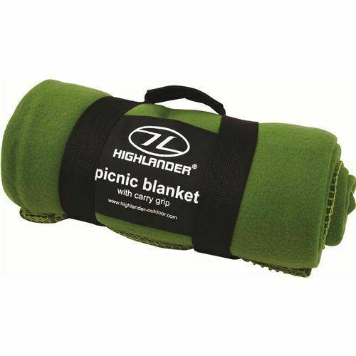 Highlander Car Travel Fleece Camping Picnic Blanket OLIVE Green