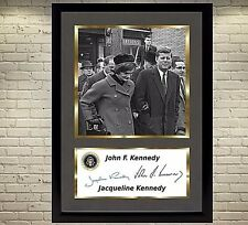 John F. Kennedy & Jacqueline Kennedy USA President JFK signed autograph FRAMED