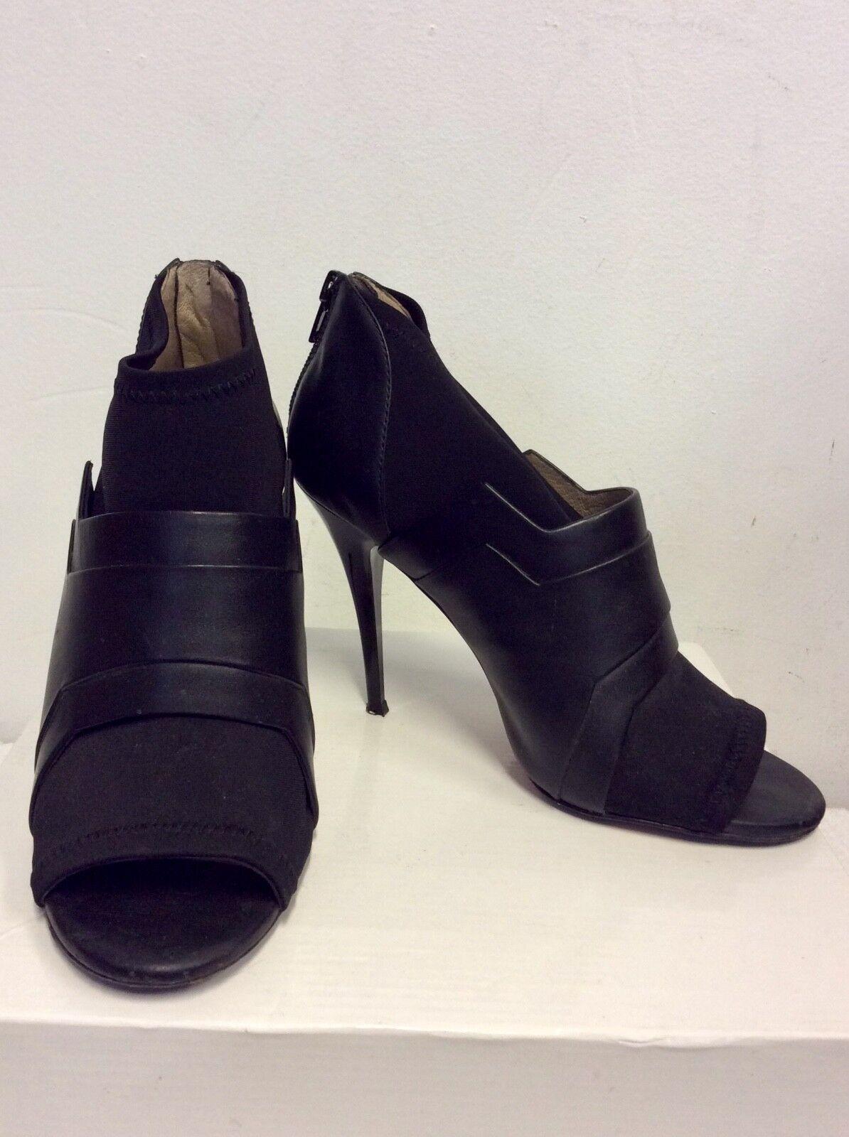 DANIEL schwarz LEATHER & ELASTICATED FABRIC PEEPTOE schuhe Stiefel Größe 5 38