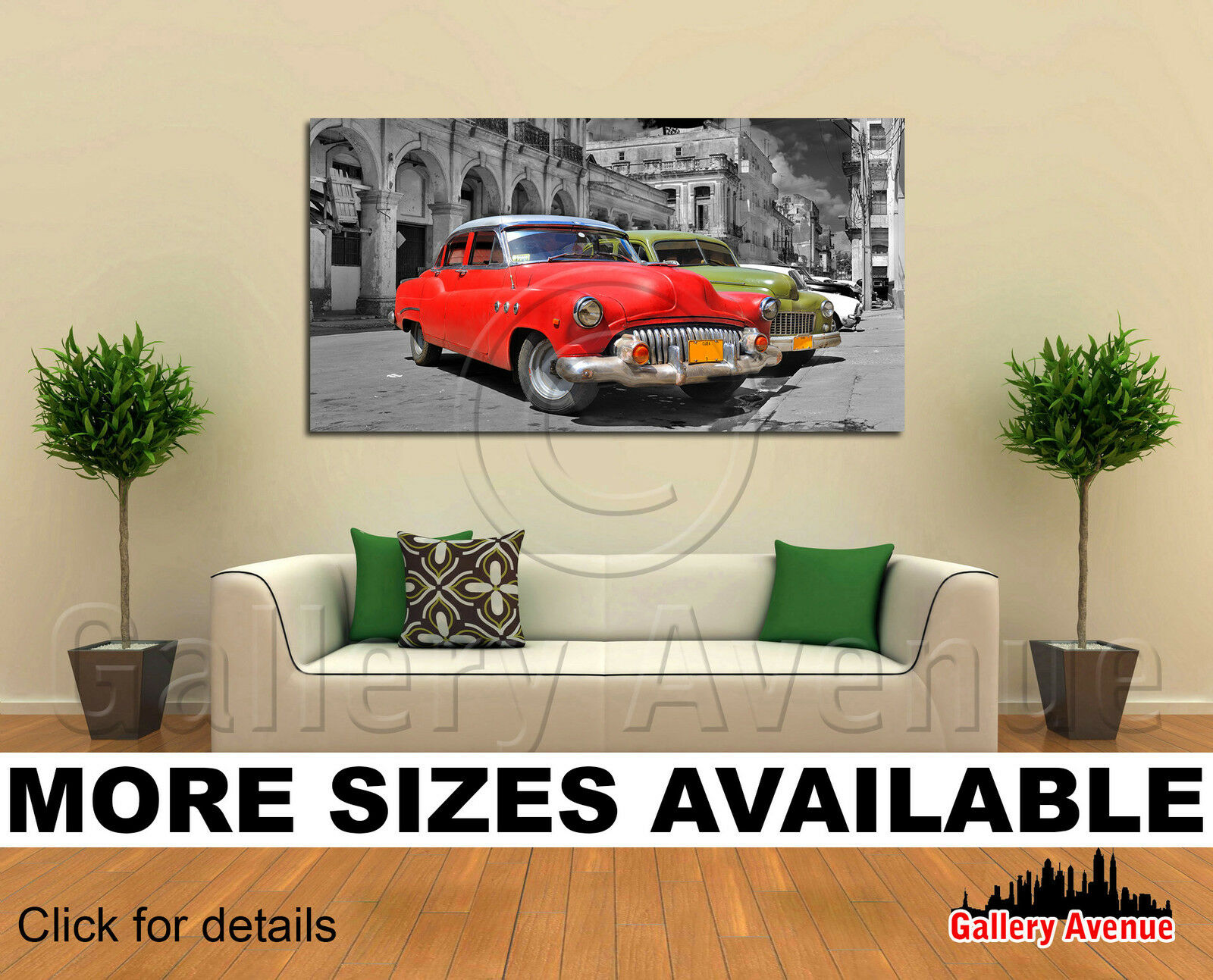 Wall Art Canvas Picture Print - Vintage Classic Cars in Havana, Cuba 2.1