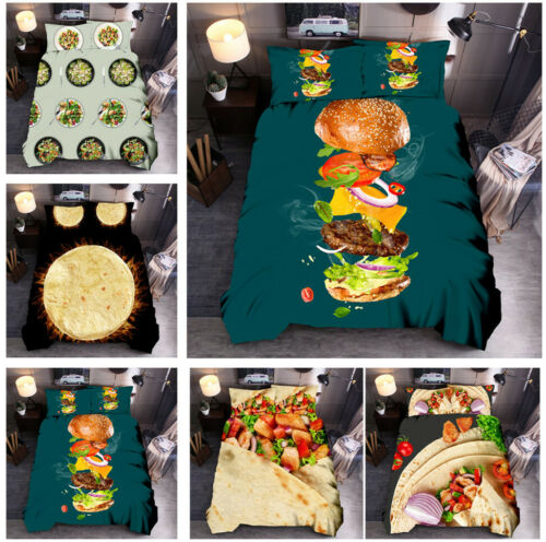 Food Temptation Duvet Cover Set Hamburger Tortilla Chicken Rolls Vegetable Salad