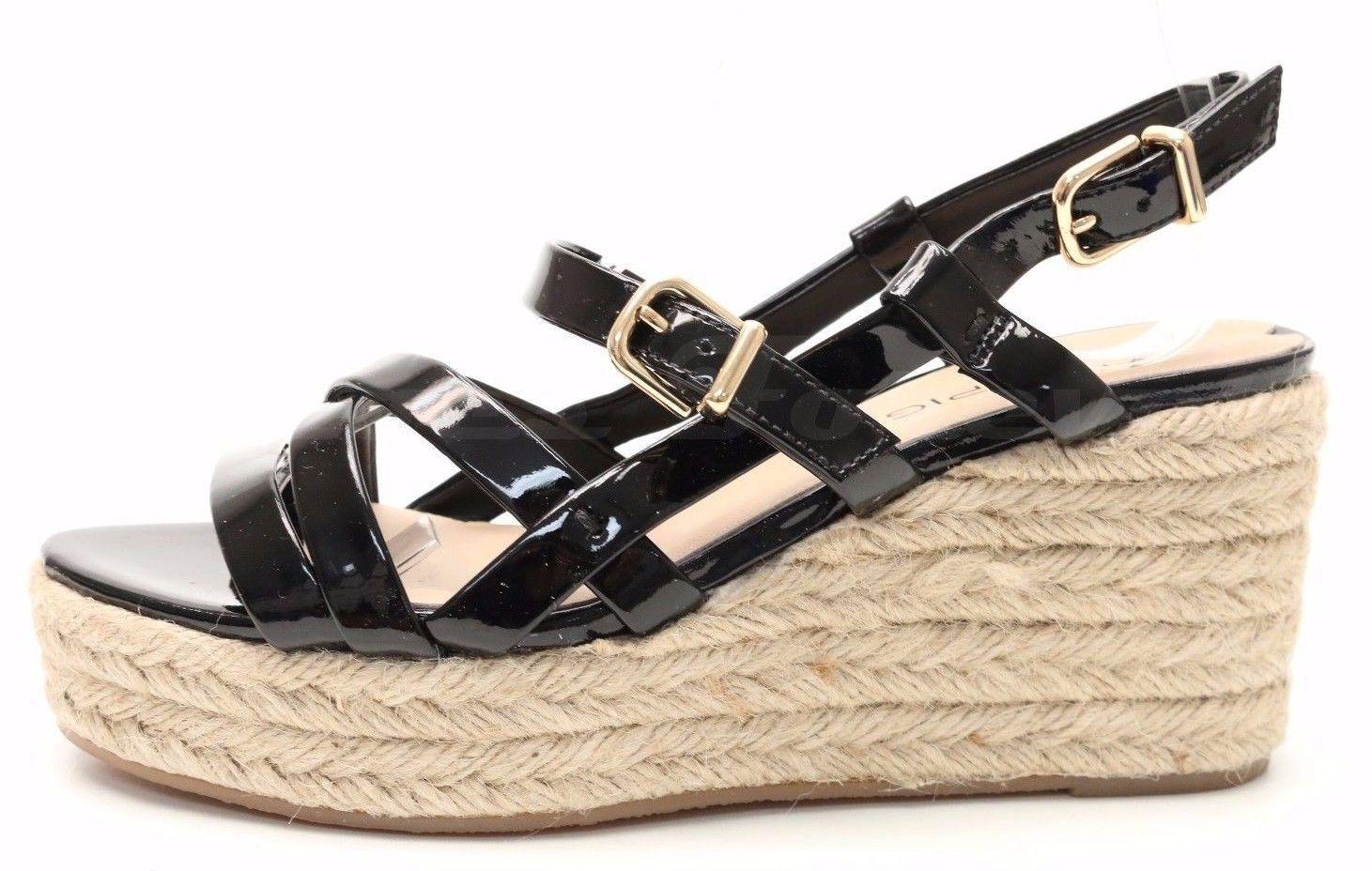 225 VIA SPIGA black patent leather wedge slingback sandals sz. 5 (EU 39) NEW