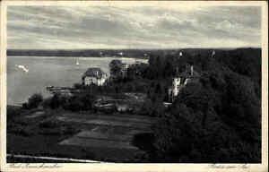 Bad-Zwischenahn-Niedersachsen-Postkarte-1930-gelaufen-Partie-am-See-Segelboot