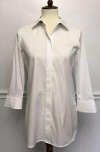 Lafayette-148-Women-White-Button-Down-Shirt-Tunic-Silver-Chain-Detail-Size-P-0-2