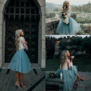 Lace Two Piece Long Sleeve Short Prom Dresses Homecoming Party
