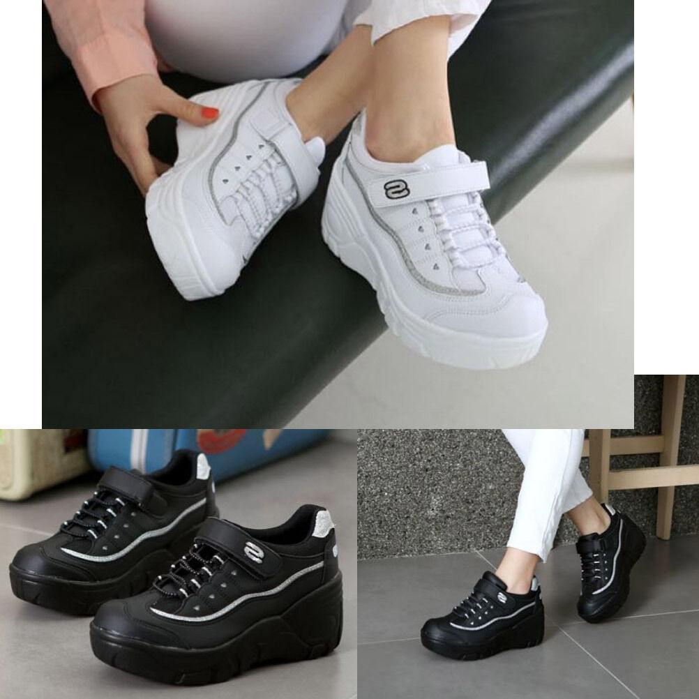 New Women Casual Cheerleaders Shoes High Heel Lace Up Platform Sneakers Trainers