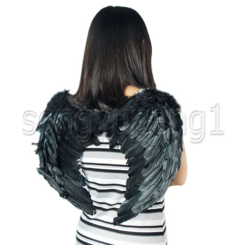 New  Black Feather Angel Wings 7-12 Years Old As Costume Or Photo Props Cosplay