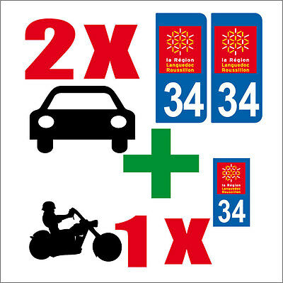 Lot 3 Stickers 2 X Auto+1x Moto Style Plaque Immatriculation Departement 34 Refreshment