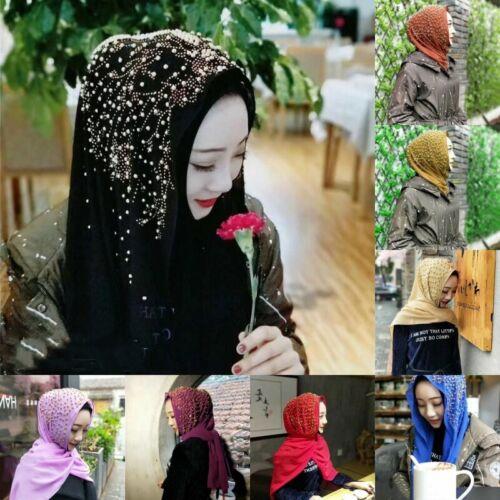 Muslim Beaded Chiffon Scarf Shawls Headwear Hijab Islamic Scarves Women Turban