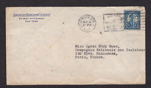 USA-United-States-1925-Perfins-Air-Mail-Saves-Time-Cancel-Cover-to-France