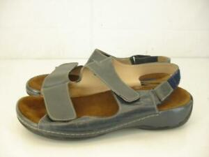 Womens-8-8-5-39-Wolky-Pichu-Gray-Leather-Slingback-Sandals-Adjustable-Wedge-Heel