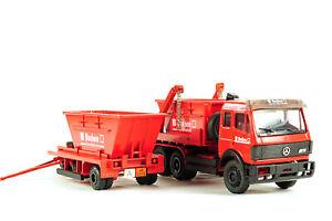 Conrad-30108-Mercedes-Benz-Buchen-Skip-Lorry-w-Trailer-1-50-O-Scale-Die-cast-MIB