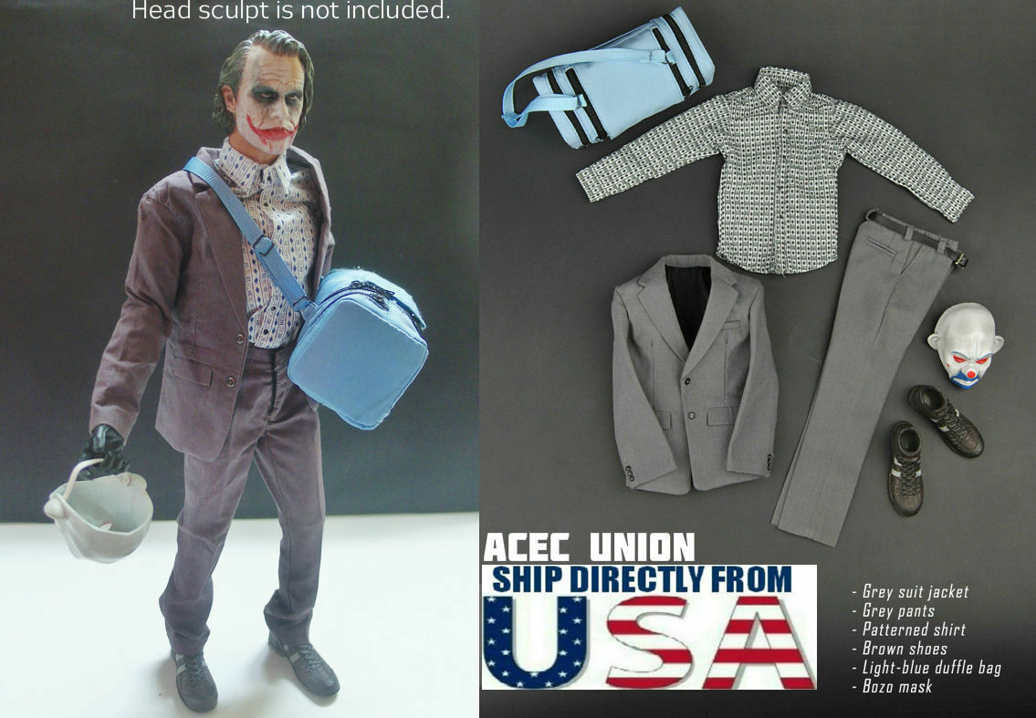 1 6 Joker Heath Ledger Outfits Mask Set For DX01 DX11 Hot Toys - U.S.A. SELLER