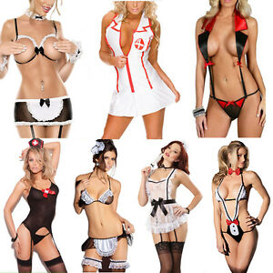 Lingerie-Lace-Dress-Underwear-Women-Sexy-Club-Night-Sleepwear-Costume-Nurse-Maid