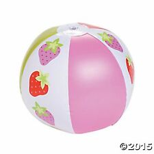 12 Vinyl Inflatable SWEET STRAWBERRY Beach Ball LOT Party Favors Decorations