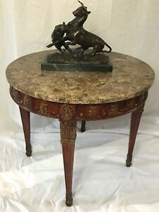 Beautiful-Antique-French-Regency-Style-Round-Marble-Top-Carved-Centre-Table