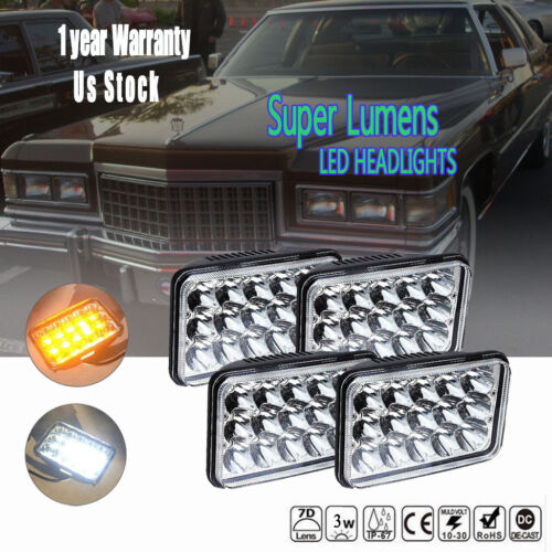"""4Pcs 4x6/"""" Inch LED Headlights with DRL for H4651 H4652 H4656 H4666 Sealed Beam"""