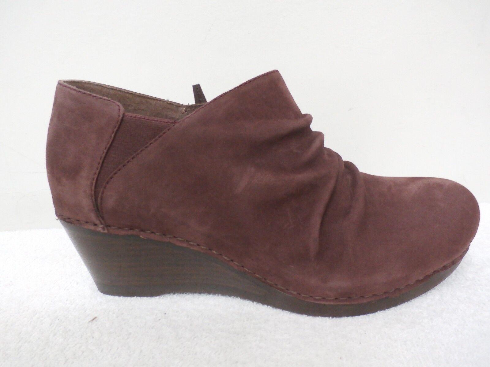 Dansko Leather Ruched Wedge Boots - Sheena RAISIN NUBUCK (BURGUNDY) 36=5.5-6