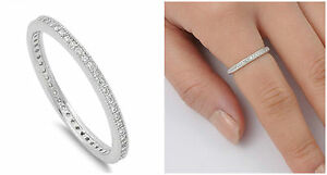 925-Sterling-Silver-2MM-STACKABLE-ETERNITY-DESIGN-CLEAR-CZ-BAND-RING-SIZES-4-10