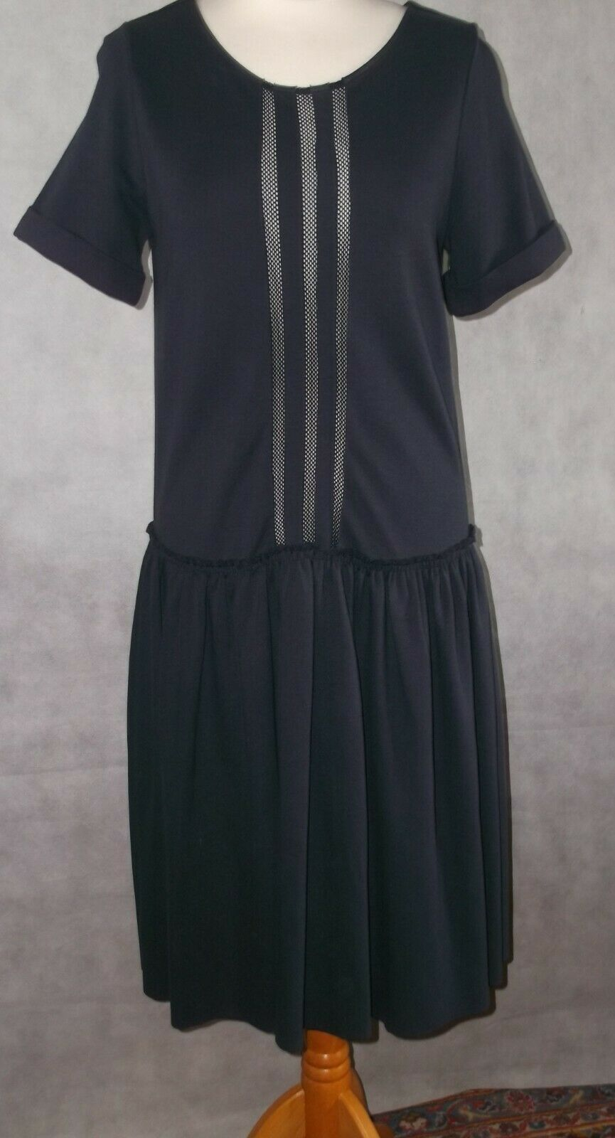 DGoldTHEE SCHUMACHER jersey pleated dress very dark Blau Größe 2 UK 10