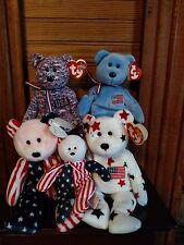 TY Beanie Babies Lot 4 Bears America blue & white w reversed ears, USA, Patriot