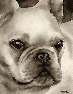 Bulldog Art Print Sepia Watercolor by Artist DJR