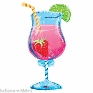 Tropical-Pink-Cool-Cocktail-Summer-Party-Clear-Foil-Supershape-Balloon