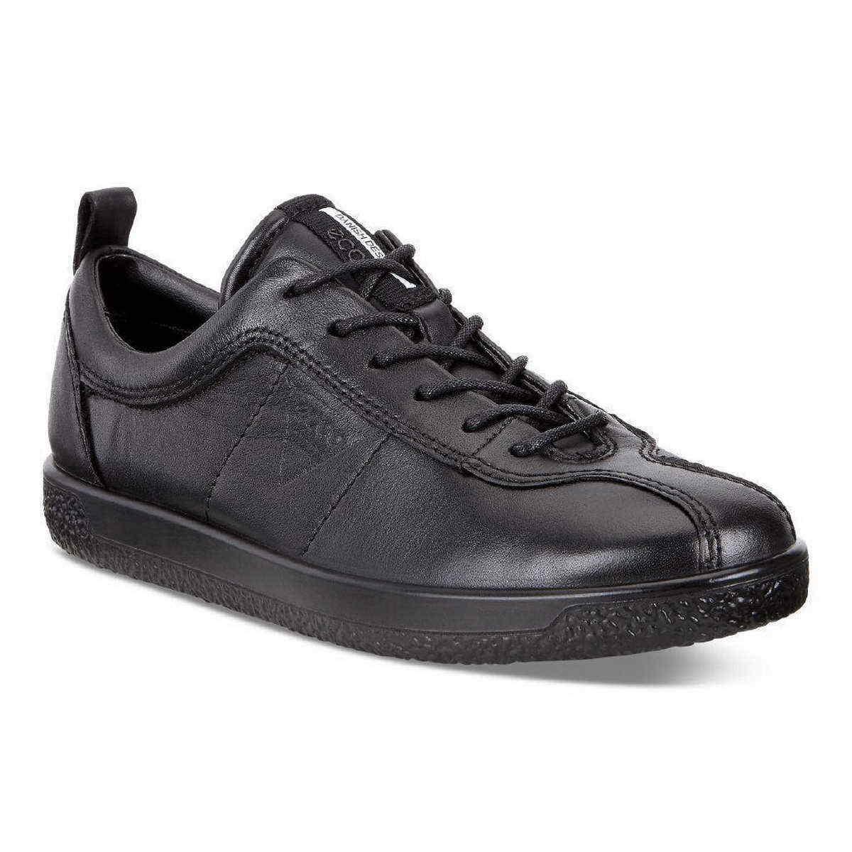 Ecco scarpe da ginnastica Soft 1 NERO nero PELLE LACCI LACCI LACCI INSERTO 400503 0100 1 7abf69